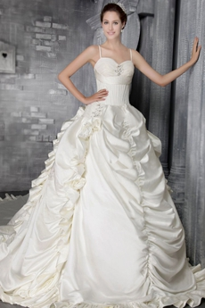 Breathtaking Spaghetti Straps Ball Gown Wedding Dress 2016