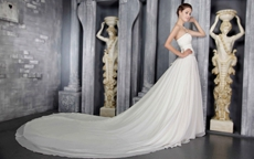 Delicate Chiffon Ivory Wedding Dress Chapel Train