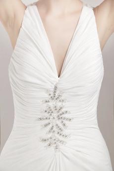 V-Neckline White Chiffon Summer Beach Wedding Dress