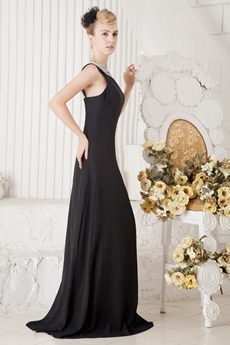 Bateau Neckline A-line Black Chiffon Pageant Prom Dress