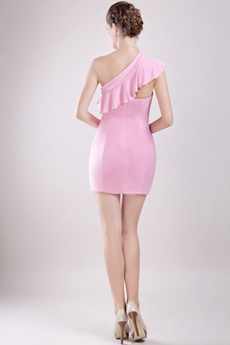 Chic Sheath Mini Length Pink Chiffon Cocktail Dress