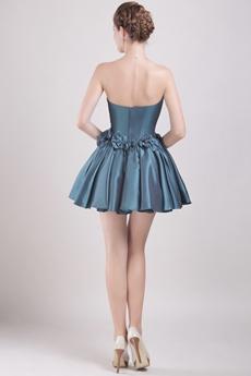 Dark Navy Puffy Mini Length Damas Dress With Bowknot