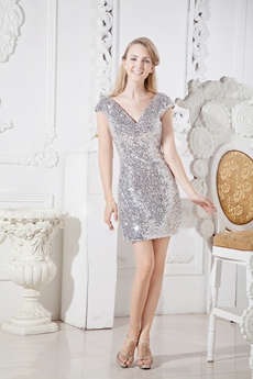 V-Neckline Cap Sleeves Silver Sequined Lace Wedding Guest Dress