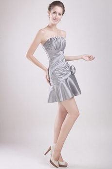 Modern Silver Short Prom Dress With Pleats