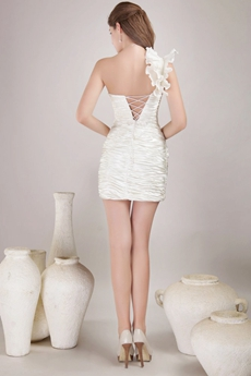 Lace Up Back Ivory Cocktail Dress With Pleated Bodice