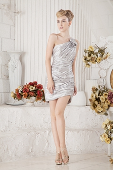 Mini Length Silver Satin Cocktail Dress One Straps