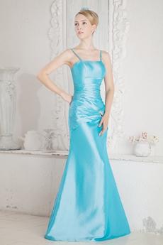 Lovely Spaghetti Straps Taffeta Blue Mother Of The Bride Dress