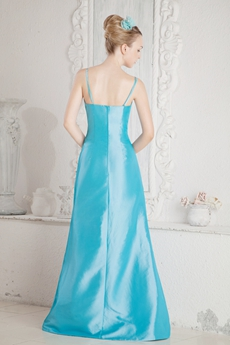 Lovely Spaghetti Straps Taffeta Blue Mother Of The Bride Dress