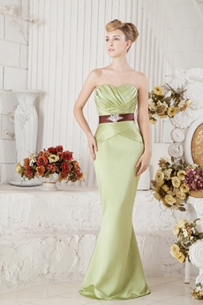 Sage Satin Mother Of The Bride Dress With Brown Sash
