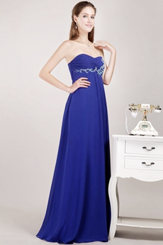Sweetheart Empire Maternity Prom Dress Royal Blue Color