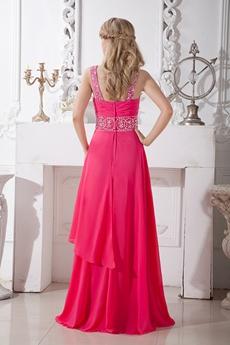 Front Keyhole Bust Fuchsia Junior Prom Dress