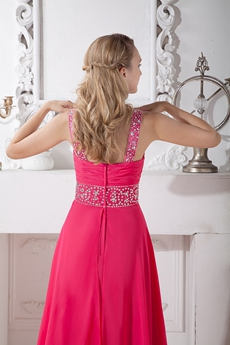 Front Keyhole Bust Fuchsia Junior Prom Dress