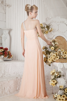 Sassy One Shoulder A-line Coral Bridesmaid Dress With Rhinestones