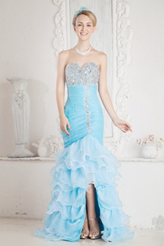 Classy Sweetheart Mermaid Organza Quince Dress With Ruffles