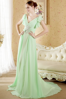V-Neckline Sage Colored Chiffon Engagement Evening Dress