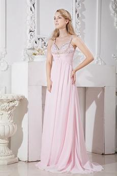 Pretty Spaghetti Stras Pearl Pink Chiffon New Year's Eve Dress