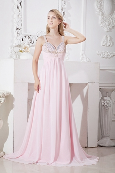 Pretty Spaghetti Stras Pearl Pink Chiffon New Year's Eve Dress