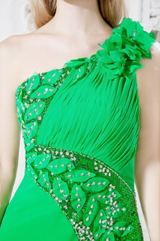 Impressive One Shoulder Emerald Green Evening Dress Side Slit