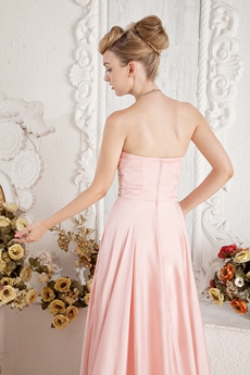 Sweet Pink Satin Prom Dress With Beads