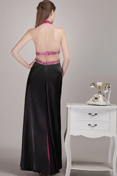 Sexy Top Halter Black & Fuchsia Evening Dress