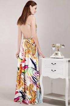 Backless Rainbow Maxi Evening Dress