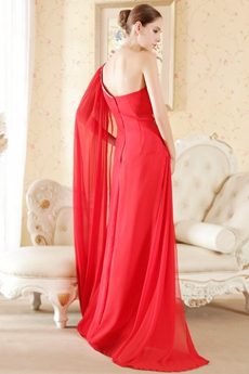Classic Red One Shoulder Formal Party Dress