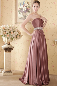One Straps Dusty Rose Elastic Satin Evening Dress
