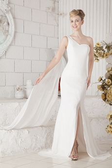 Delicate One Straps A-line White Chiffon Formal Evening Dress