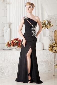 Sexy One Shoulder Evening Maxi Dress High Slit