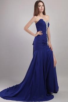 Dropped Waist Royal Blue Chiffon Celebrity Evening Dress
