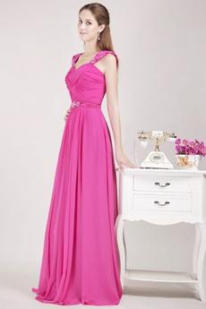 Pretty Straps Fuchsia Chiffon Prom Party Dress With Beads