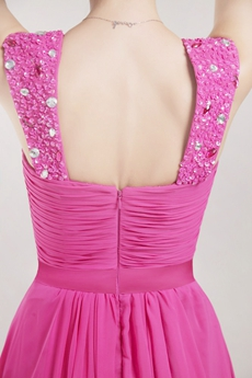 Pretty Straps Fuchsia Chiffon Prom Party Dress With Beads