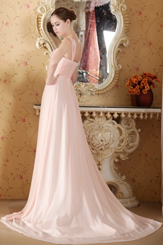 Delicate Pink Chiffon New Years Party Dress With Beads
