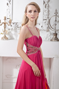 Multi Colored Fuchsia & Orange Chiffon Prom Party Dress