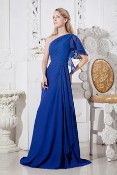 Short Sleeves One Shoulder Royal Blue Chiffon Prom Dress