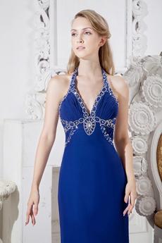 Top Halter A-line Royal Blue Chiffon Celebrity Evening Dress