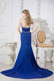 Top Halter A-line Royal Blue Chiffon Celebrity Evening Dress