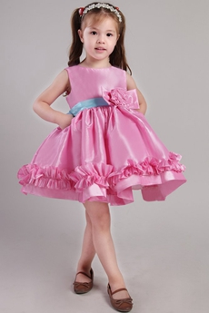 Mini Length Hot Pink Infant Flower Girl Dress