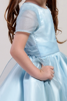 Modest Baby Blue Cute Keen Length Little Girls Party Dresses With Sash