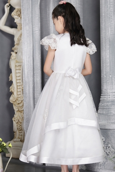 Pretty A-line Full Length Flower Girl Dresses With Lace Appliques