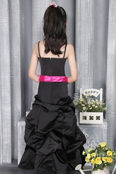 Spaghetti Straps Black Taffeta Girls Pageant Dress With Fuchsia Sash