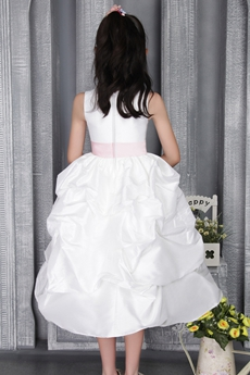 Tea Length White Taffeta Flower Girl Party Dress With Sash