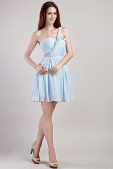 One Straps Mini Length Light Sky Blue Chiffon Homecoming Dress