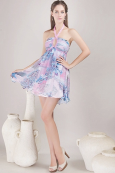 Mini Length Halter Rainbow Cocktail Dress With Keyhole Bust