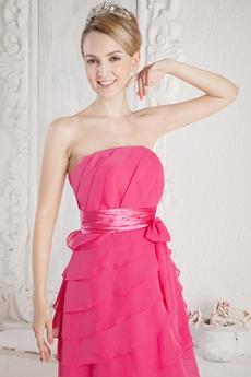 Lovely Mini Length Fuchsia Quince Dress For Damas