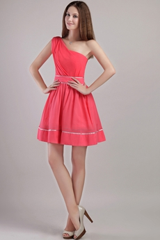 One Shoulder Mini Length Watermelon High School Graduation Dress