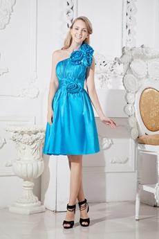 One Shoulder Turquoise Junior Prom Dress