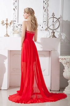 Chic Red Chiffon High Low Prom Dress