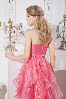 Lovely Watermelon Organza High Low Sweet 16 Dress With Ruffles