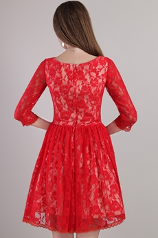 3/4 Sleeves Jewel Neckline Red Lace Homecoming Dress